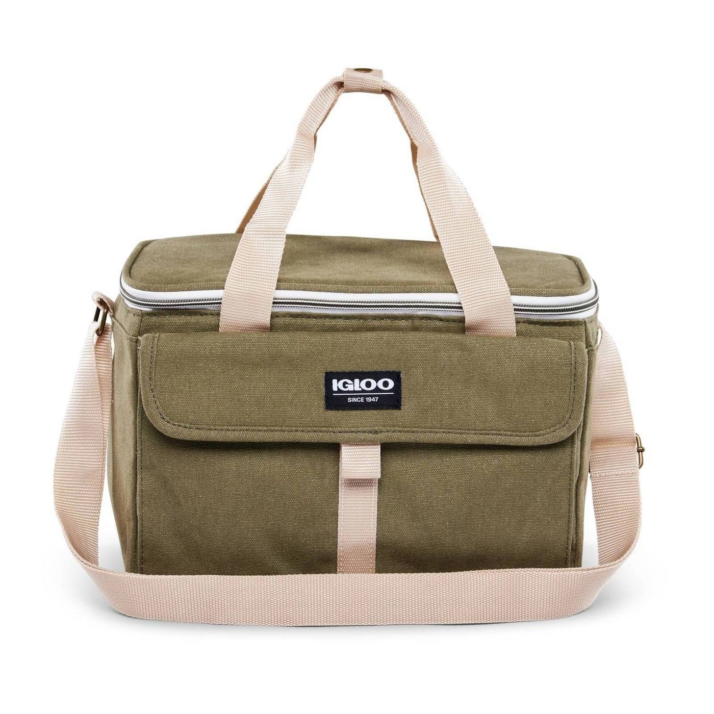 Olive green lunch bag with tan straps