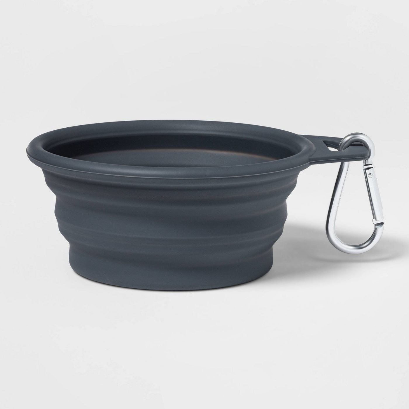 gray dog bowl with silver clip