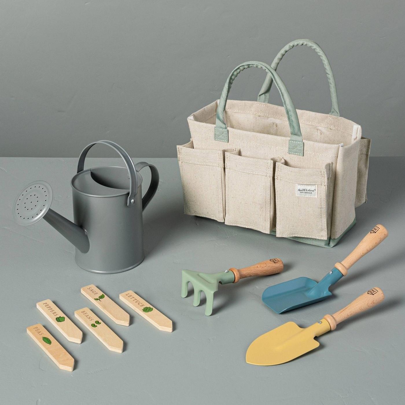 green, tan, blue and yellow gardening kit