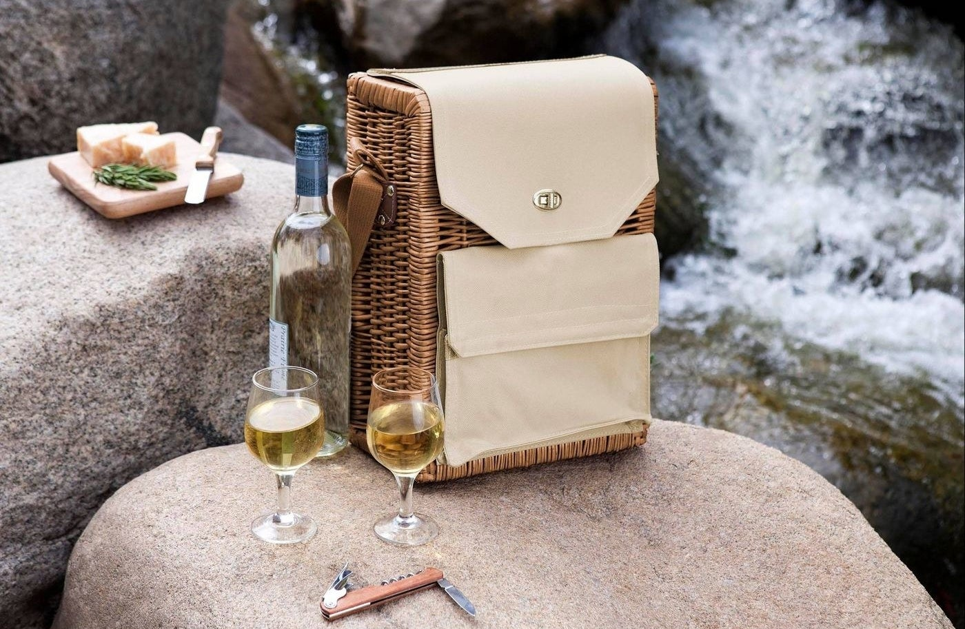 tan and wicker picnic basket