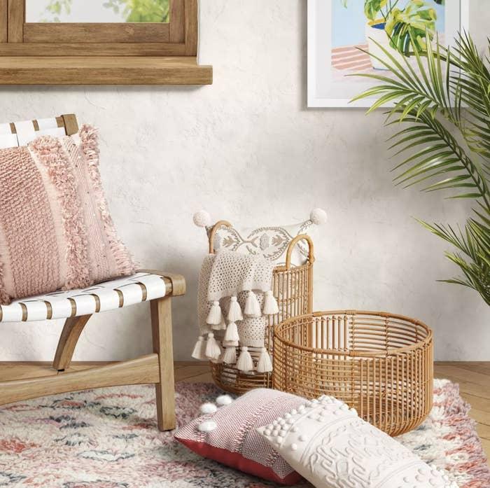 Rattan baskets in living room