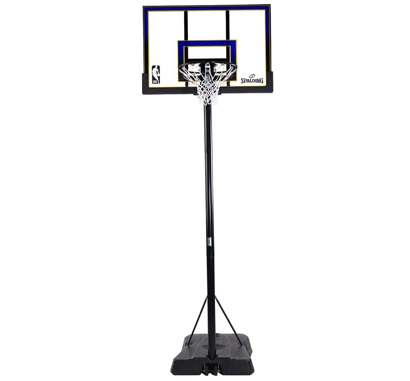 black, clear, and blue basketball hoop