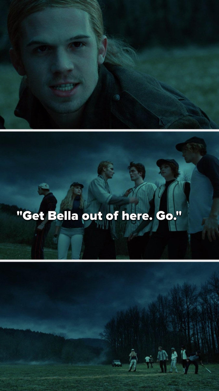 """The bad vampire glares at Edward, Carlisle says, """"Get Bella out of here, go,"""" and Bella and Edward run toward the car"""