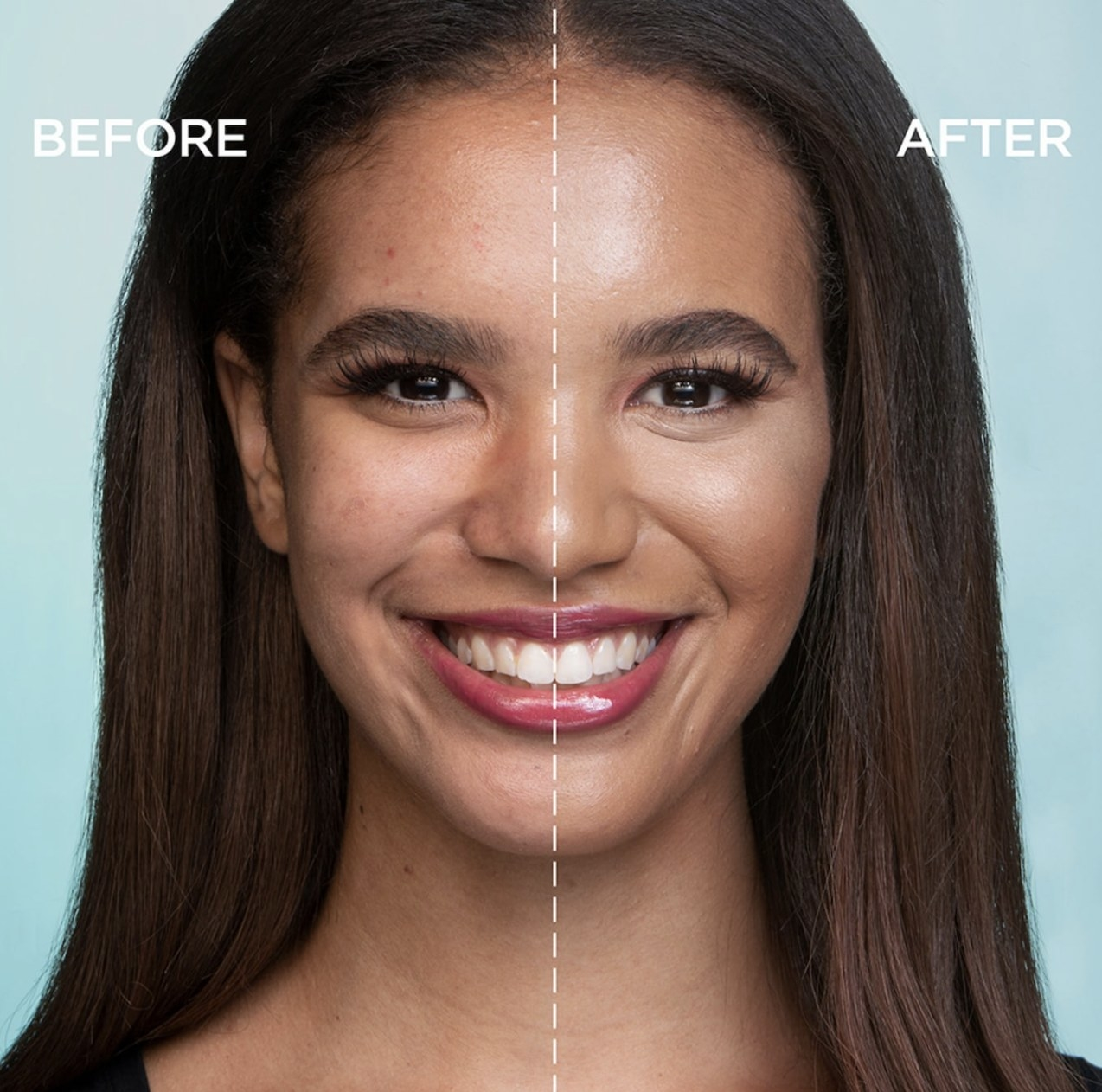 a before and after of a model with and without the foundation