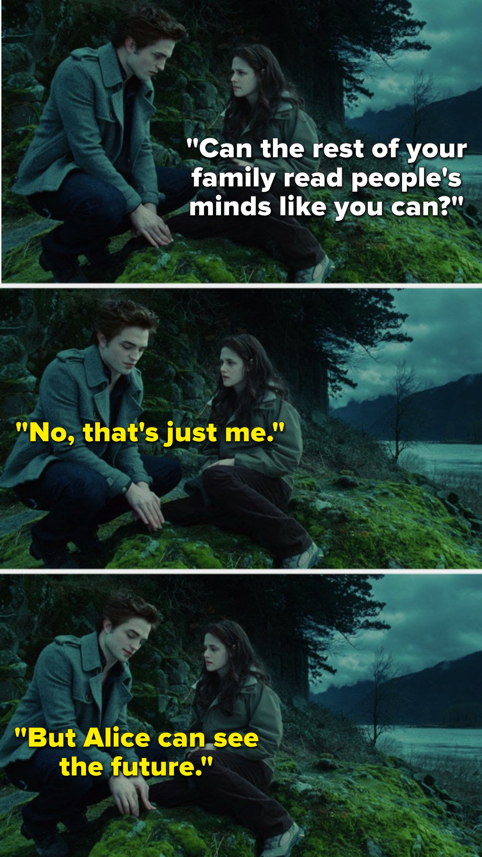 """Bella says, """"Can the rest of your family read people's minds like you can,"""" and Edward says, """"No, that's just me, but Alice can see the future"""""""