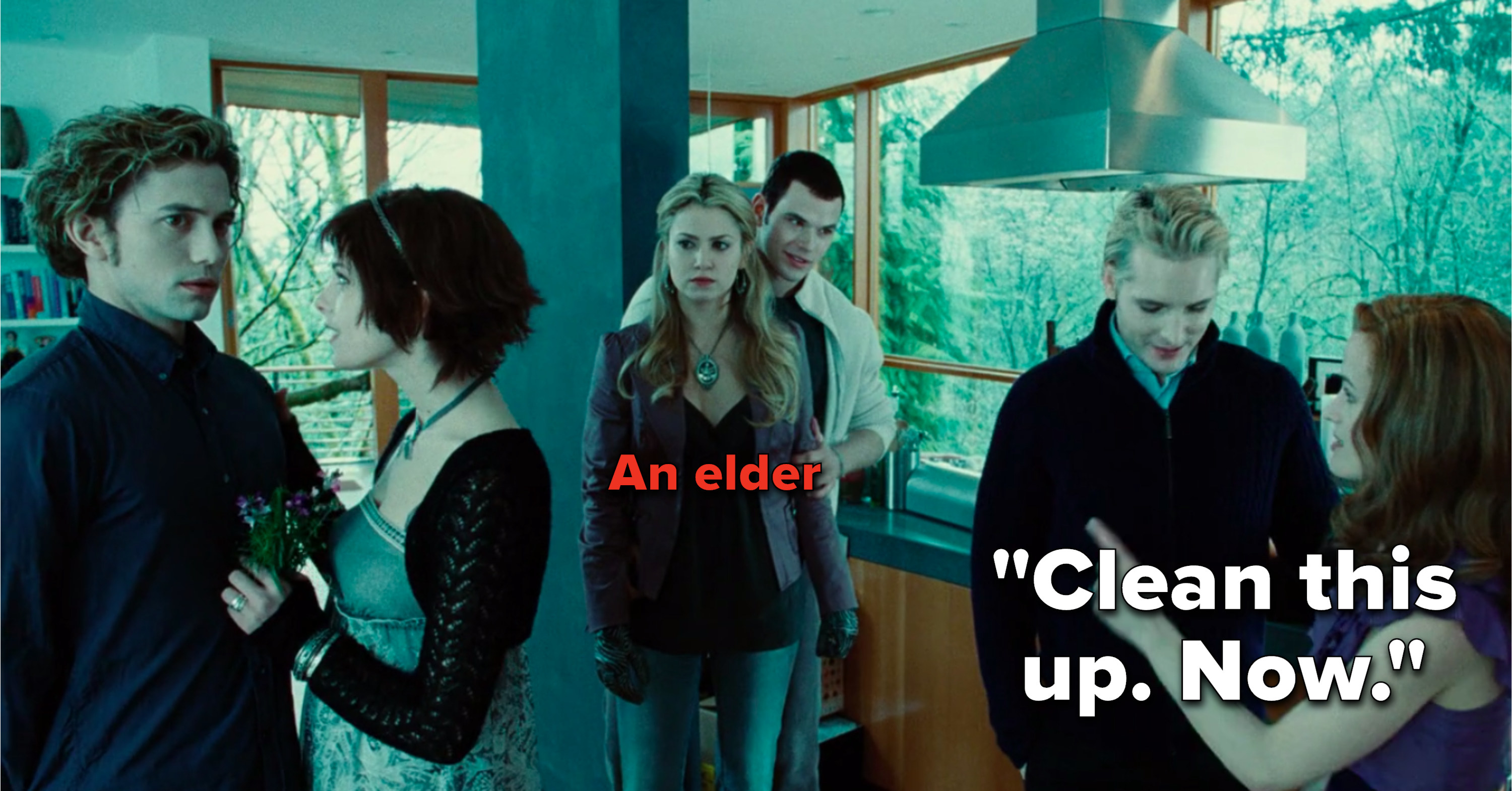"""Esme says to Rosalie, """"Clean this up, now,"""" but Rosalie's an elder"""