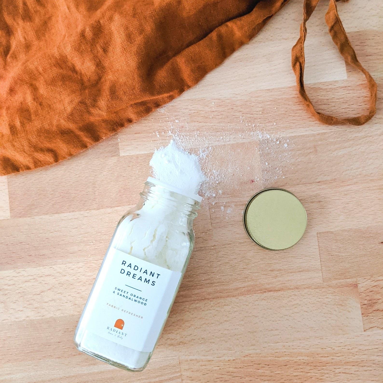 The bottle of white freshening powder