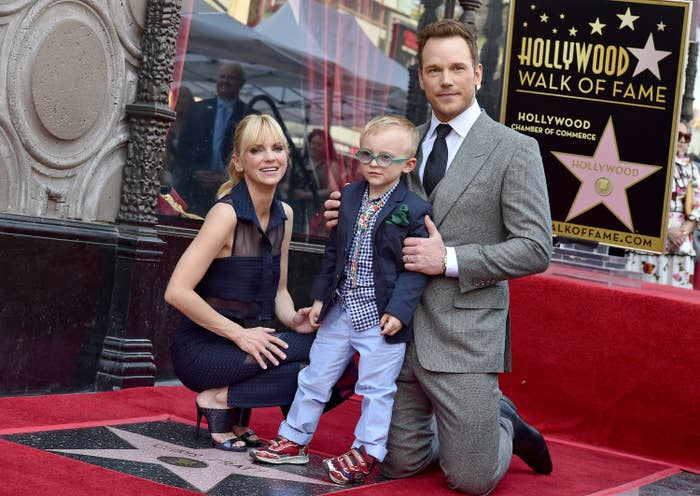 anna faris and chris pratt with their son jack at the hollywood walk of fame