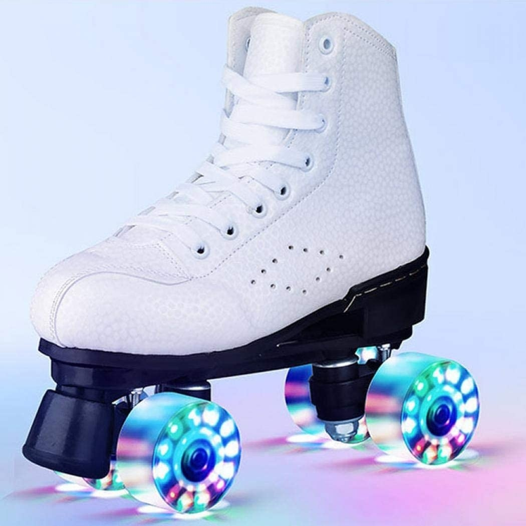 One of the roller skates with light up wheels and a break on the front
