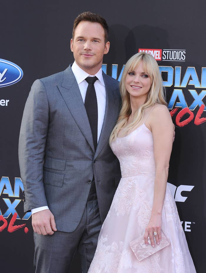 "chris pratt and anna faris at the ""guardians of the galaxy vol 2"" premiere"