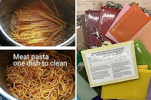 """reviewer's pasta in an instant pot with the text """"meat pasta one dish to clean"""" and a pile of colorful vaccine card holders"""
