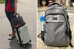 一个人推着一个白色硬边行李箱在左边,一个灰色的旅行背包在右边