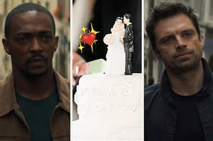 Anthony Mackie as Sam Wilson, a hand holding a knife starts to cut into a wedding cake with a male and female wedding topper, and Sebastian Stan as Bucky Barnes.