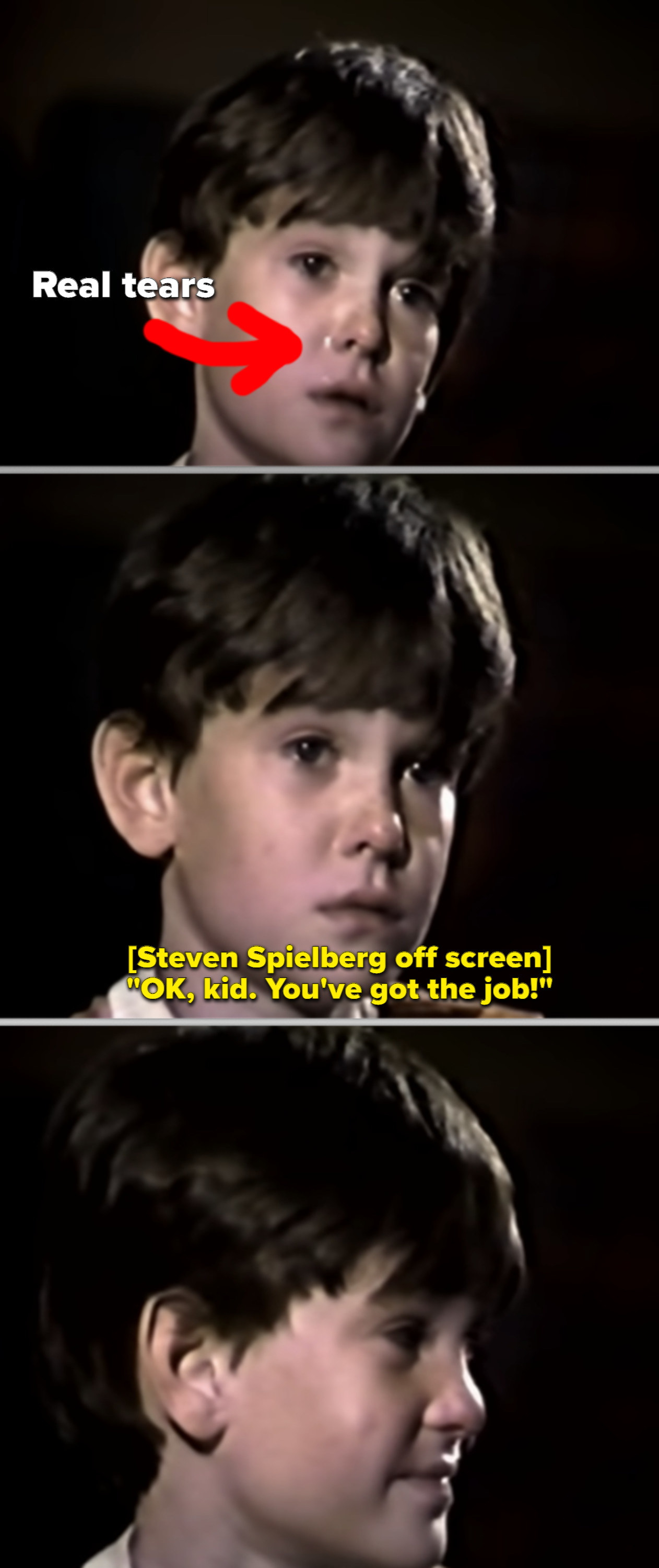 Henry Thomas crying during his audition