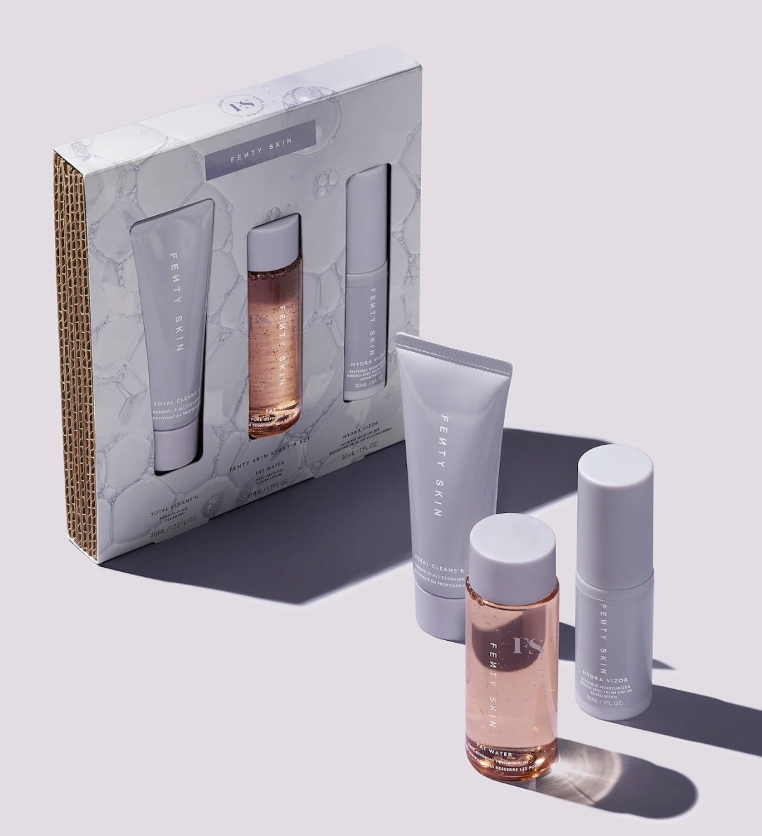 the fenty skin skincare set in its packaging