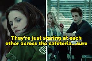 """""""他们只是盯着自助餐厅,肯定""""从""""暮光之城写着贝拉和爱德华""""盯着彼此盯着"""