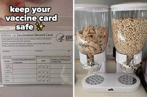 vaccine card and cereal dispensers