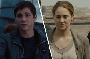 """Logan Lerman as Percy Jackson in the movie """"Percy Jackson: Sea of Monsters"""" and Shailene Woodley as Tris Prior in the movie """"Divergent."""""""