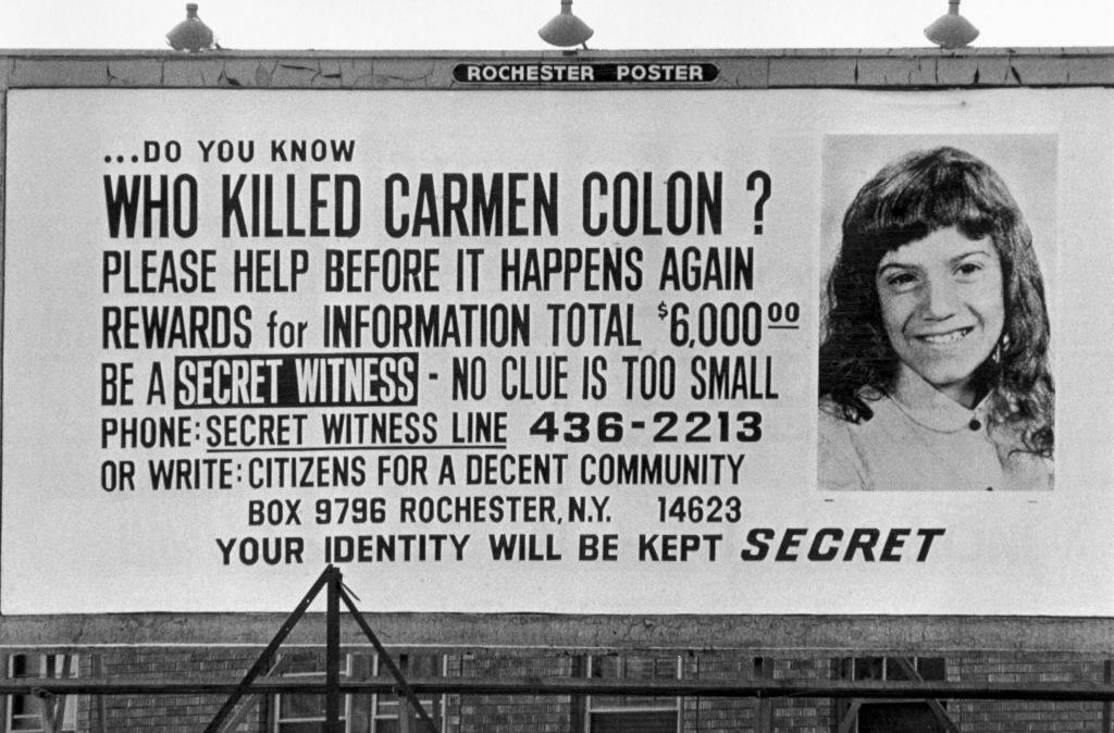 Billboard searching for the killer of Carmen Colon