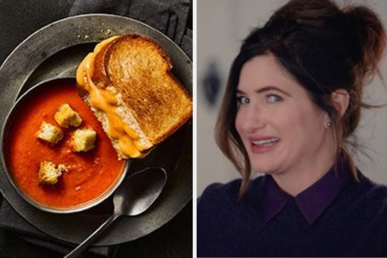 Tomato soup and grilled cheese, and Kathryn Hahn looking confused