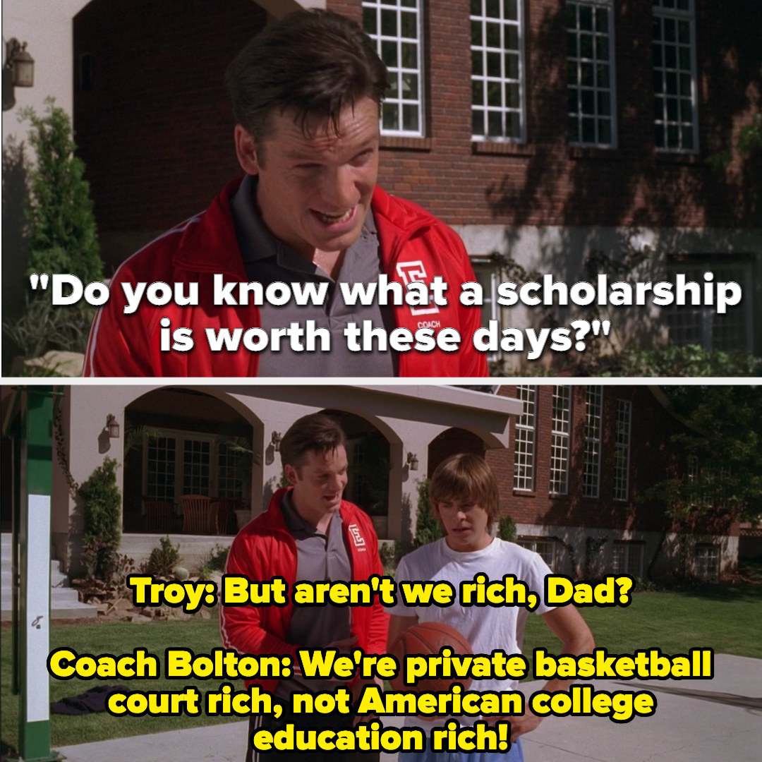 Troy's dad emphasizes the importance of a college scholarship to his son
