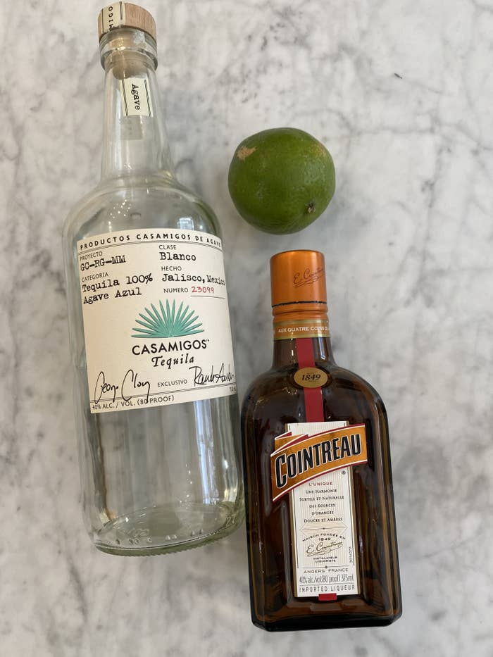 Blanco tequila, Cointreau, and limes.