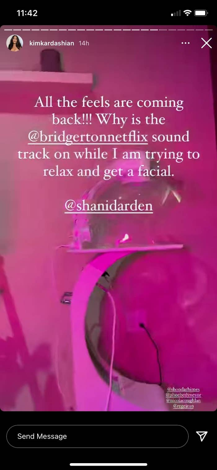 instagram story by kim kardashian listening to the bridgerton soundtrack during a facial