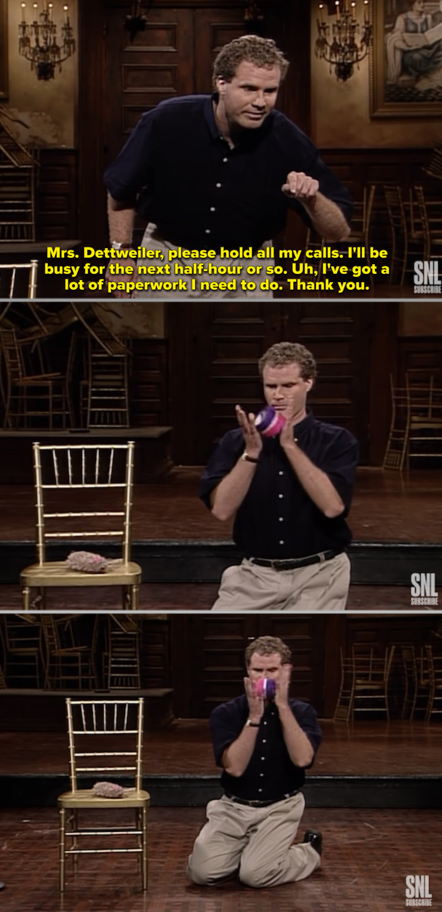 """Will Ferrell on the """"SNL"""" stage playing with a cat toy"""