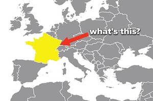 A map of Europe with France highlighted and text asking which country it is