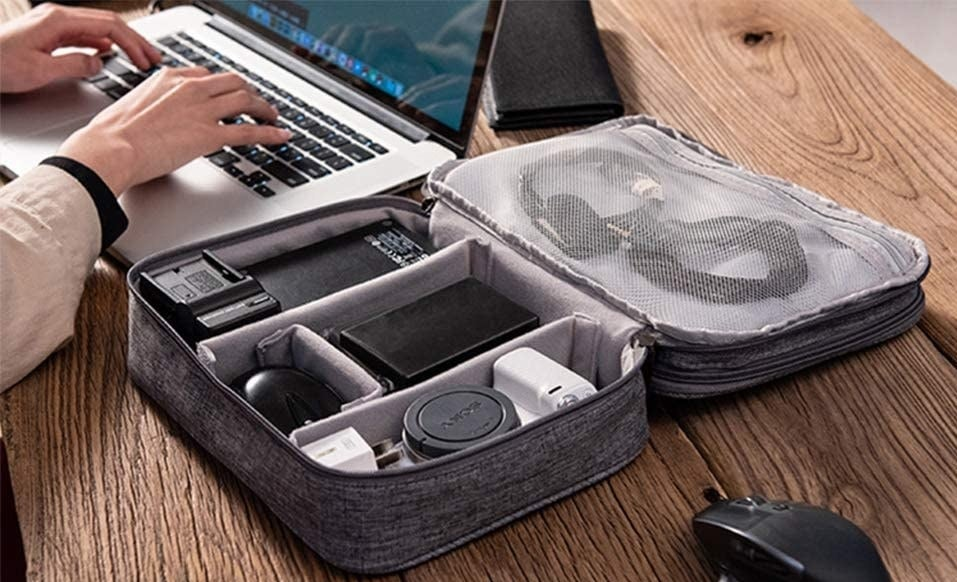 the case filled with electronics