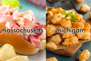 A lobster roll with