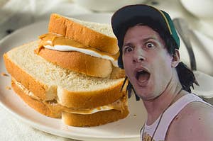 A shocked Andy Samberg next to a fluffernutter