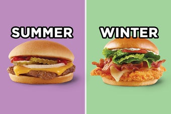 On the left, a cheeseburger from Wendy's labeled