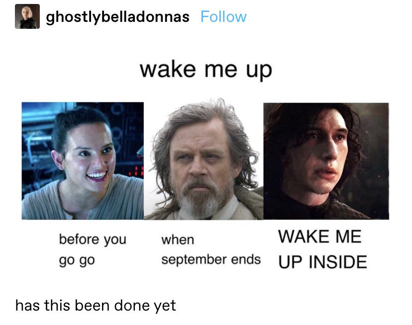 wake me up before you go (Rey) when september ends (Luke) WAKE ME UP INSIDE (Kylo ren)