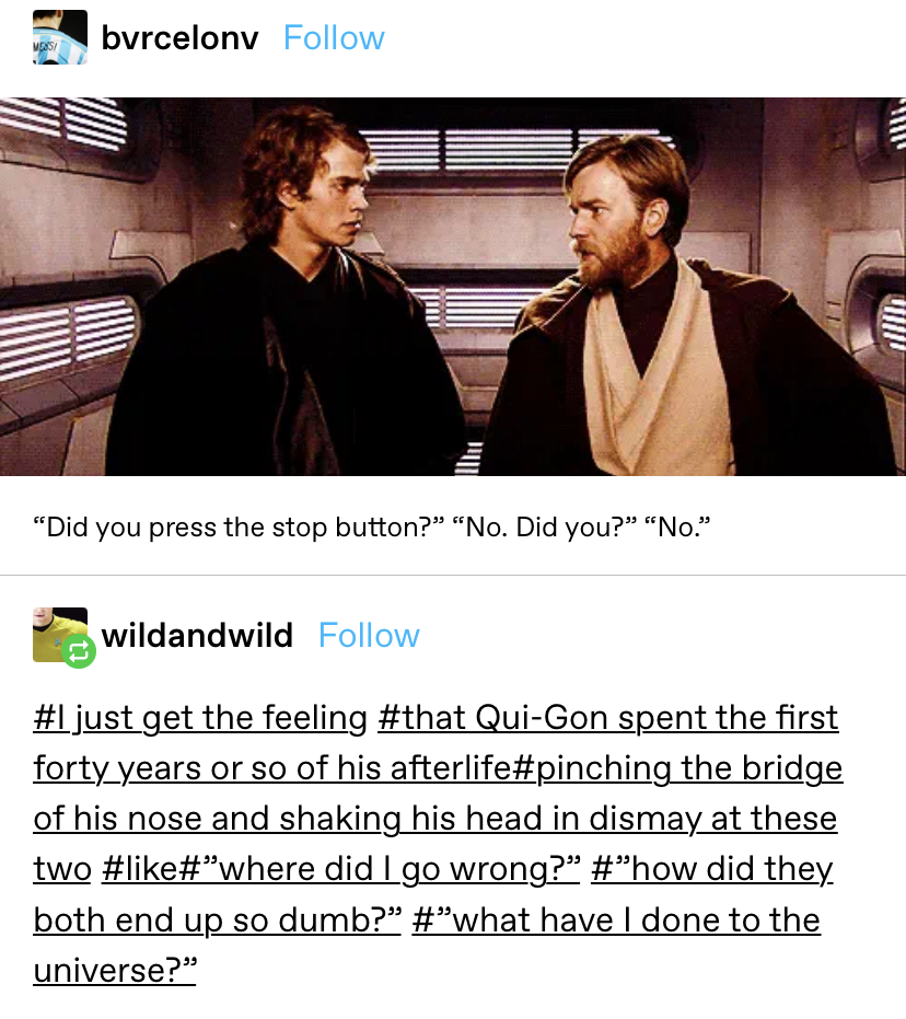 """One person says they have the """"feeling that Qui-Gon spend 40 years or so of his afterlife wondering where he went wrong with Anakin and Obi wan"""""""