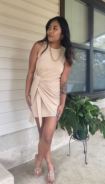 front view of a different reviewer wearing the dress in beige