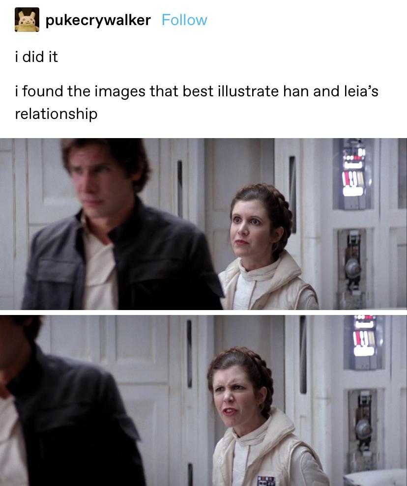 Leia making a weird face behind Han's back