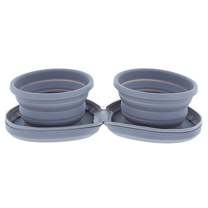 two connected pop-up silicone bowls