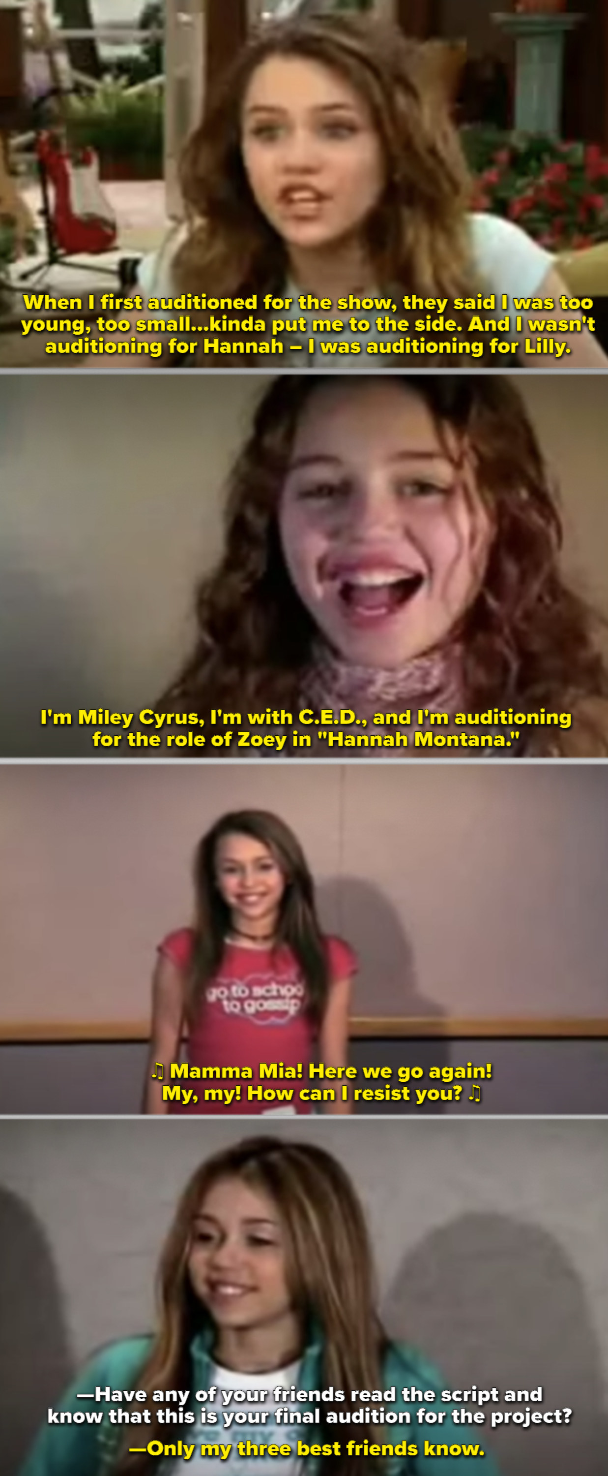 """Several screenshots from Miley's many auditions for """"Hannah Montana"""""""