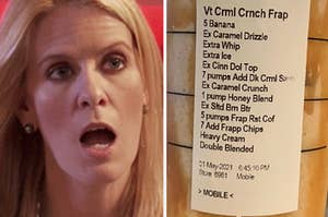 one of the real housewives looking shocked, and a close up of the starbucks order
