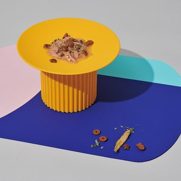 yellow plate on stand on top of colorblock food mat