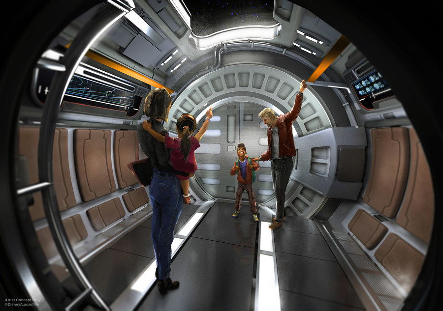 An artist's rendering of a family on board the Galactic Starcruiser