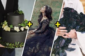 黑色花卉婚礼蛋糕,黑色婚纱和黑玫瑰