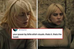"""比利·艾莉什在自己的mv《你的力量》中写道:""""你的力量来自于比利·艾莉什的视觉效果;这是它;这是微博""""""""class="""