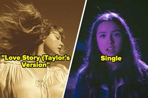 """Taylor Swift's """"Love Story"""" and Olivia Rodrigo in the """"Driver's License"""" music video"""