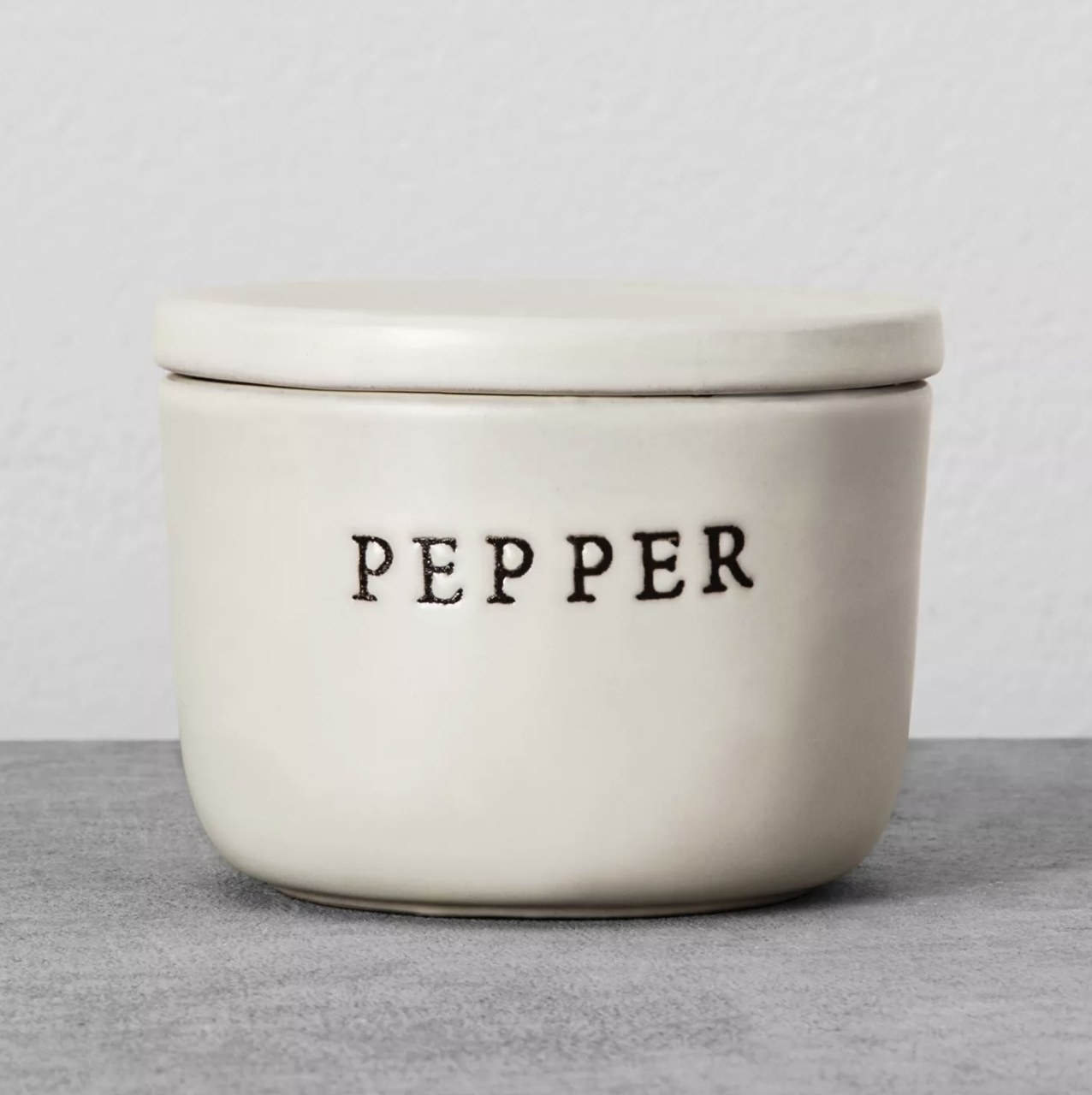 Pepper container on counter