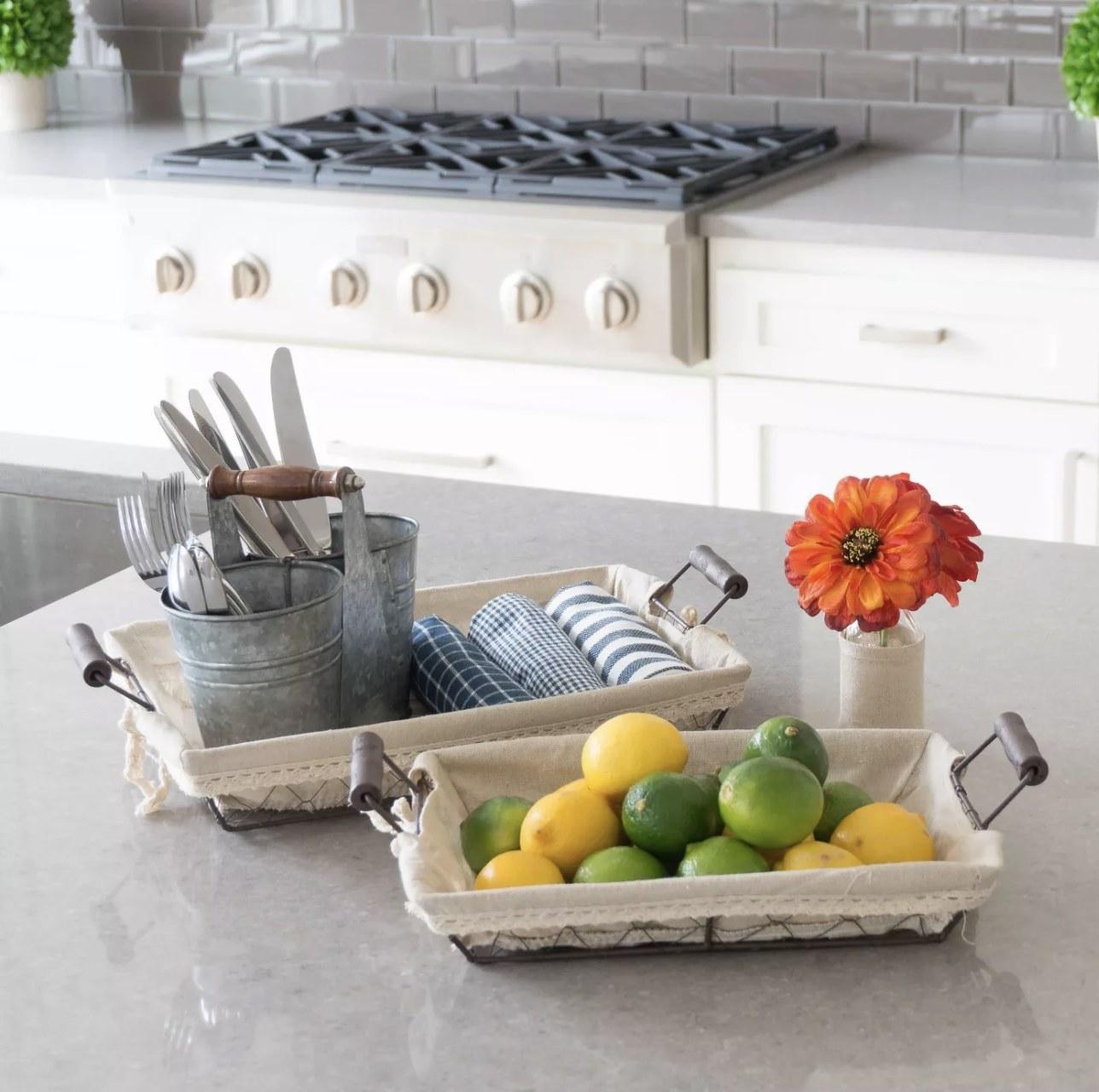 Wire baskets on kitchen counter