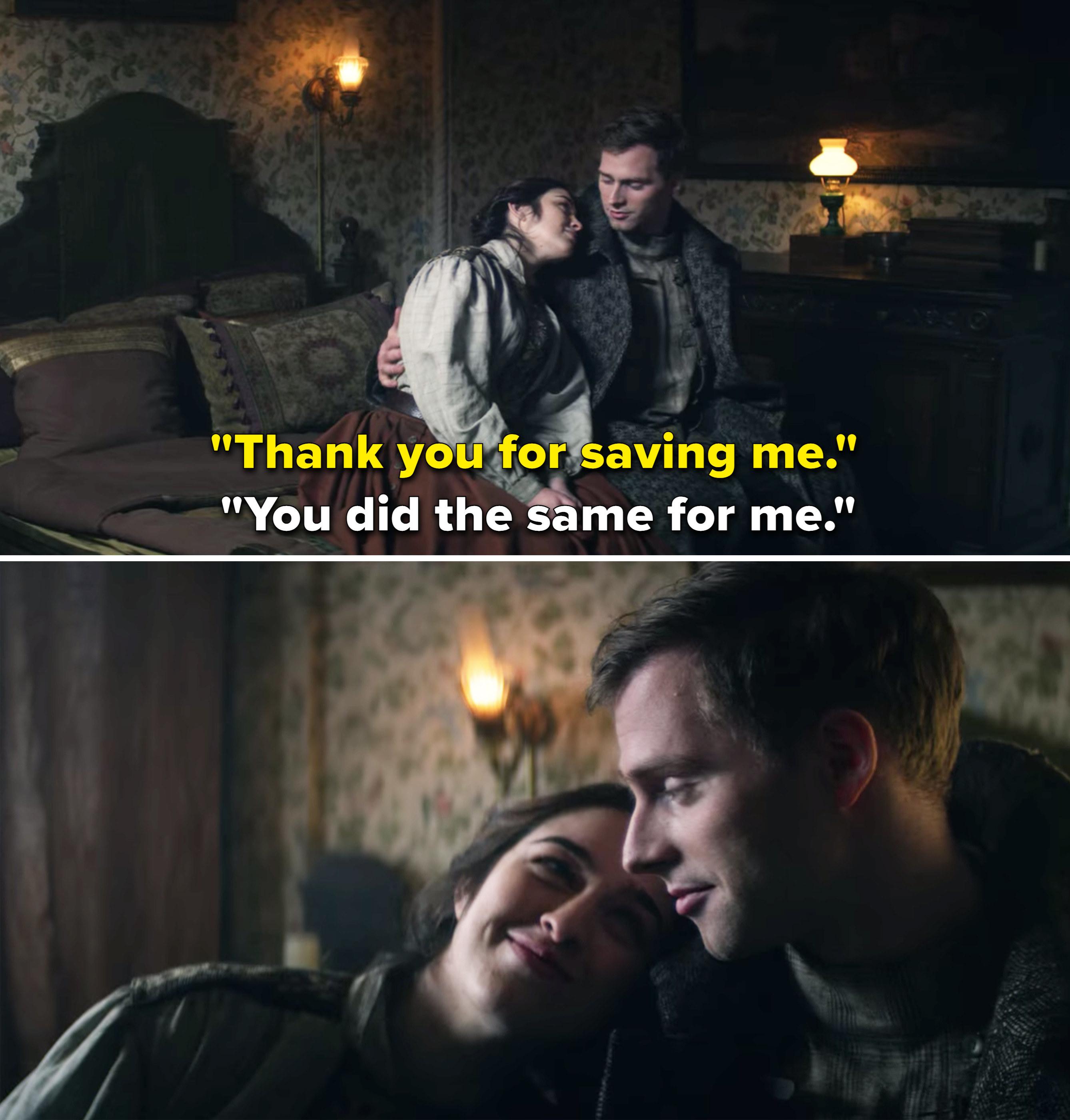 """Nina saying, """"Thank you for saving me"""" and Matthias responding, """"You did the same for me"""""""