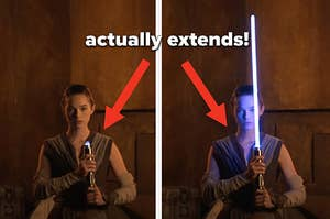 An actor dressed as Rey igniting the new lightsaber replica prototype, which has an extendable and retractable blade
