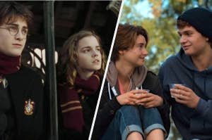 Daniel Radcliffe as Harry Potter and Emma Watson as Hermione Granger in the movie